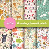 pic of hare  - 8 stylish seamless patterns with funny cartoon animals in vector - JPG