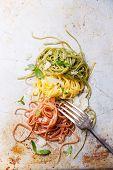 pic of italian flag  - Italian pasta Italian flag colors with basil and parmesan - JPG
