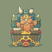 stock photo of dwarf  - Cartoon styled dwarf with helmet and horns sitting on the chest on plain background - JPG