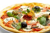 picture of basil leaves  - Pizza with Mozzarella Cheese and Fresh Tomato and Pesto Sauce - JPG