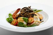 stock photo of tiger prawn  - Seafood Spaghetti with Tiger Prawns - JPG