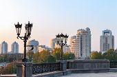 stock photo of ekaterinburg  - Yekaterinburg town throw the street lights in the evening - JPG
