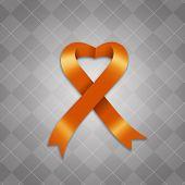 stock photo of leukemia  - an illustration of Awareness orange ribbon on gray background - JPG