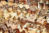 picture of alsatian  - Traditional alsatian houses on the Christmas market - JPG