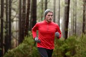 picture of long distance  - Running man in forest woods training and exercising for trail run marathon endurance race - JPG