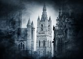 picture of spooky  - Halloween background with spooky and ancient buildings over smoky background  - JPG
