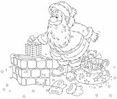 image of chimney  - Father Christmas putting his holiday gifts into a chimney - JPG