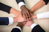 stock photo of joining hands  - Celebrating victory - JPG