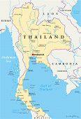 stock photo of political map  - Thailand Political Map with capital Bangkok - JPG
