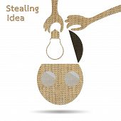 stock photo of stealing  - hand stealing idea light bulb from head of businessman burlap - JPG