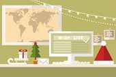 stock photo of workstation  - holiday vector illustration - JPG