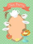 pic of tea party  - Colorful flat illustration of a tea party invitation card with a kettle - JPG