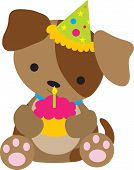 foto of dog birthday  - A cute little puppy holding a cupcake with a candle on it - JPG