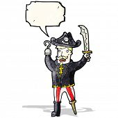 picture of peg-leg  - cartoon pirate with speech bubble - JPG