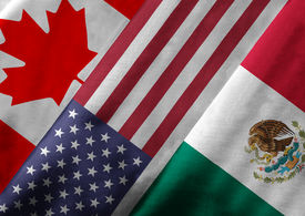 picture of flags world  - Close up of the flags of the North American Free Trade Agreement NAFTA members on textile texture - JPG