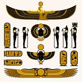 stock photo of horus  - Ancient Egyptian symbols and decorations in yellow black design - JPG