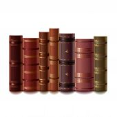 picture of leather-bound  - Old books isolated on white photo - JPG