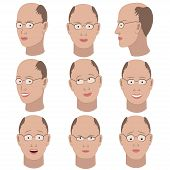stock photo of outrageous  - Set of variation of emotions of the same bald guy with glasses - JPG