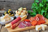 picture of antipasto  - Antipasto, egg, olives, chesse, parma various appetizer food traditional
