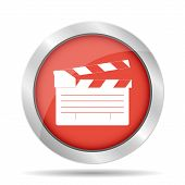 stock photo of clapper board  - movie clapper board movie maker vector - JPG