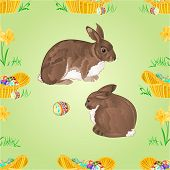 foto of daffodils  - Seamless texture easter  rabbits  and easter eggs and basket with daffodils vector illustration - JPG