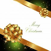 stock photo of welts  - Merry Christmas background made of gold and green decorations - JPG