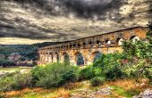 foto of aqueduct  - HDR image of Pont du Gard ancient Roman aqueduct listed in UNESCO - JPG