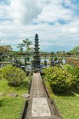 image of fountain grass  - Tirtagangga water palace with fountains  and ponds on Bali - JPG