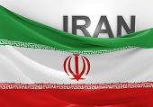 foto of iranian  - Iranian national flag with top curled to reveal text - JPG