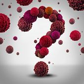 foto of medical  - Cancer questions concept as cancerous cells shaped as a question mark spreading and growing as malignant growth in a human body as a symbol for medical information on diagnosis and therapy - JPG