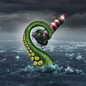 picture of hazardous  - Strategy problem and guidance hazard as a lighthouse beacon being ripped out of the ocean by a dangerous sea monster tentacle arm as a metaphor for risk and trouble planning - JPG