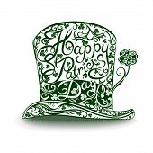 image of leprechaun hat  - Original Irish leprechaun hat made of delicate pattern and clover leaves - JPG