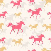 picture of new year 2014  - New Year seamless background with pink and orange prancing horses - JPG