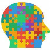 stock photo of jigsaw  - Jigsaw puzzle human head - JPG