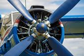 stock photo of rotor plane  - View of the propeller aircraft closeup - JPG