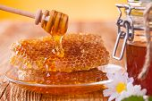 stock photo of pollen  - Fresh honey and bee pollen. Apiary products. ** Note: Shallow depth of field - JPG