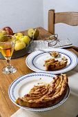 foto of cider apples  - apple pie on a table with apples and glass of cider - JPG