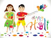 stock photo of dharma  - abstract artistic colorful holi cartoon vector illustration - JPG