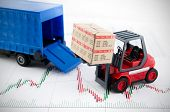 picture of forklift  - Forklift truck toys with boxes - JPG
