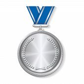 picture of medal  - Champion silver medal with  with a concentric circle texture pattern and ribbon  vector illustration on white background - JPG