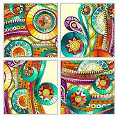 pic of batik  - Set of four abstract doodle ethnic tribal hand drawn vector cards on wood background - JPG