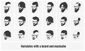 stock photo of mustache  - hairstyles with beard and mustache wearing glasses full face - JPG