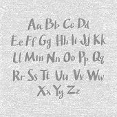 pic of verbs  - Hand drawn and sketched classic font vector sketch style alphabet - JPG