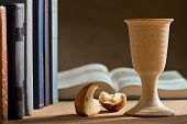 picture of chalice  - stilllife with chalice of wine and bible - JPG