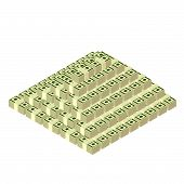 picture of 100 dollars dollar bill american paper money cash stack  - money pyramid made of stacks of dollars - JPG