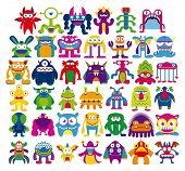 stock photo of halloween characters  - Vector Cartoon Set Of Different Monsters Isolated - JPG