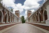 stock photo of pilaster  - Vintage old bridge in the park Tsaritsyno - JPG
