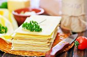 stock photo of lasagna  - ingredients for lasagna on the wooden table - JPG