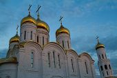 pic of trinity  - Orthodox church Trinity Cathedral in Bryansk a summer evening at sunset - JPG