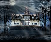 foto of scary haunted  - Haunted house with dark scary horror atmosphere - JPG
